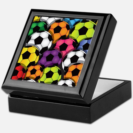 Colorful Soccer Balls Keepsake Box