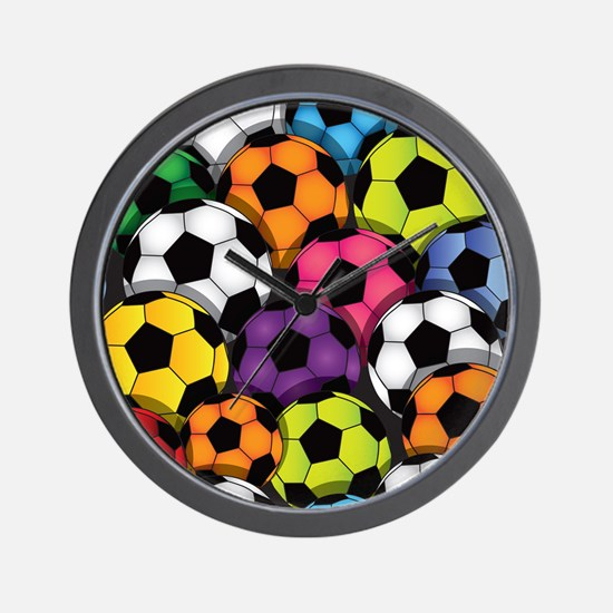 Colorful Soccer Balls Wall Clock