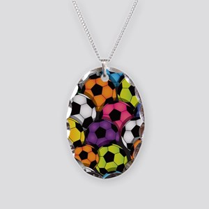 Colorful Soccer Balls Necklace Oval Charm