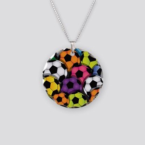 Colorful Soccer Balls Necklace Circle Charm