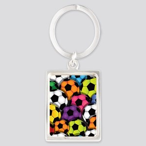 Colorful Soccer Balls Portrait Keychain