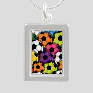 Colorful Soccer Balls Silver Portrait Necklace