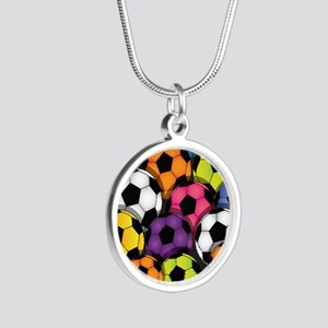 Colorful Soccer Balls Silver Round Necklace