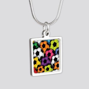 Colorful Soccer Balls Silver Square Necklace