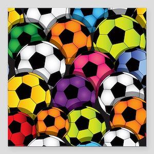 "Colorful Soccer Balls Square Car Magnet 3"" x 3"""