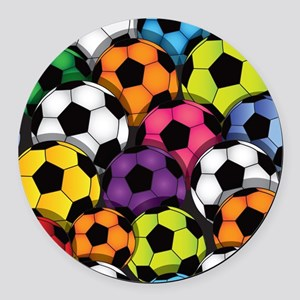 Colorful Soccer Balls Round Car Magnet