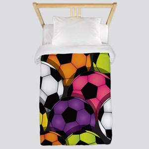 Colorful Soccer Balls Twin Duvet