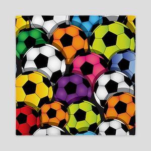 Colorful Soccer Balls Queen Duvet