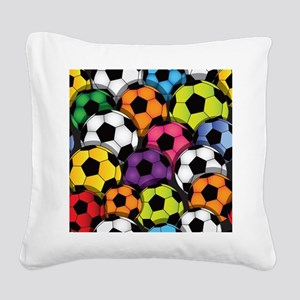 Colorful Soccer Balls Square Canvas Pillow