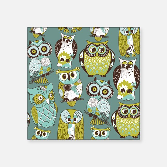 "Cute Owls Square Sticker 3"" x 3"""