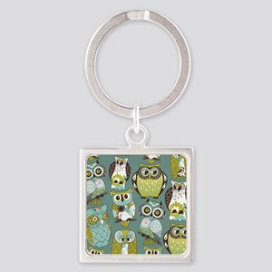 Cute Owls Square Keychain