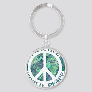 Practice World Peace Round Keychain
