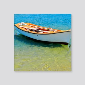 """Floating Boat Square Sticker 3"""" x 3"""""""