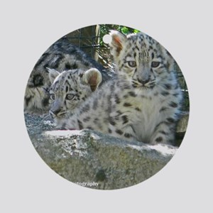 Baby Snow Leopards Round Ornament