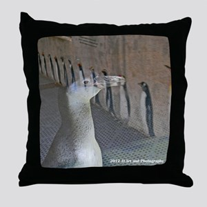 Penguin and Reflection Throw Pillow
