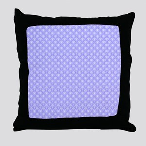 Periwinkle And White Fl Damask Throw Pillow