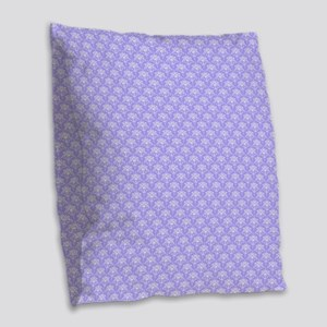 Periwinkle and White Floral Da Burlap Throw Pillow