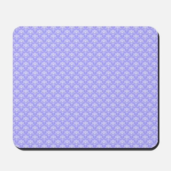 Periwinkle and White Floral Damask Mousepad