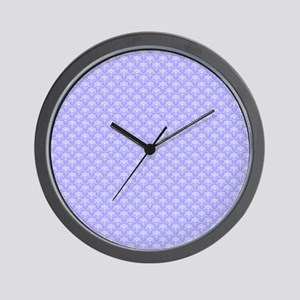 Periwinkle and White Floral Damask Wall Clock