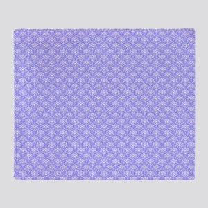 Periwinkle and White Floral Damask Throw Blanket