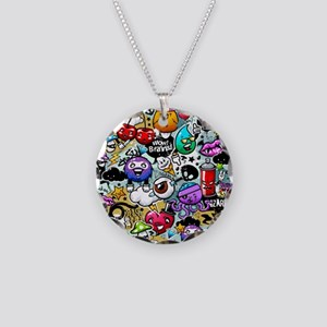 Cool Graffiti Necklace Circle Charm
