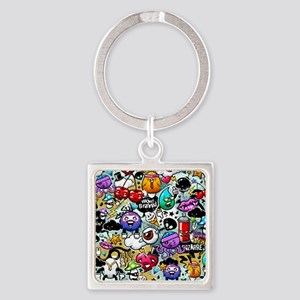 Cool Graffiti Square Keychain
