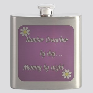 Number Cruncher by day Mommy by night Flask
