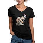 Uncle Sam Cover Women's V-Neck Dark T-Shirt
