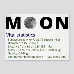 Moon facts 5'x7'Area Rug