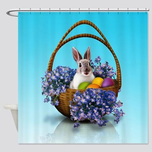 Easter Bunny Basket Shower Curtain