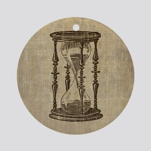 Vintage Hourglass Round Ornament