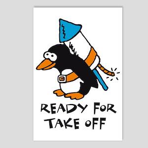 flying comic rocket pengu Postcards (Package of 8)