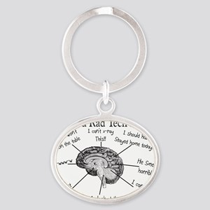 Atlas of a Rad techs brain Oval Keychain