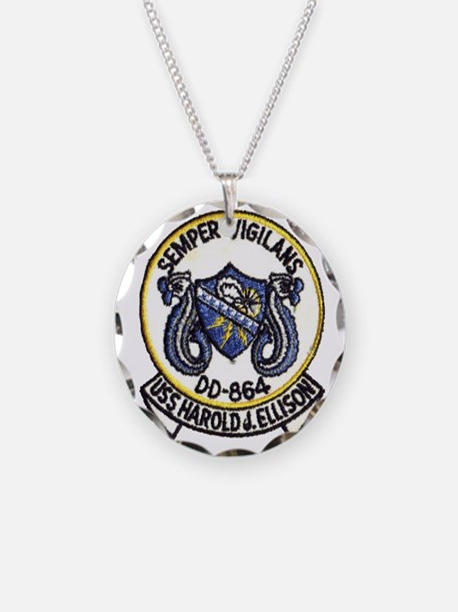 uss harold j. ellison patch  Necklace Circle Charm