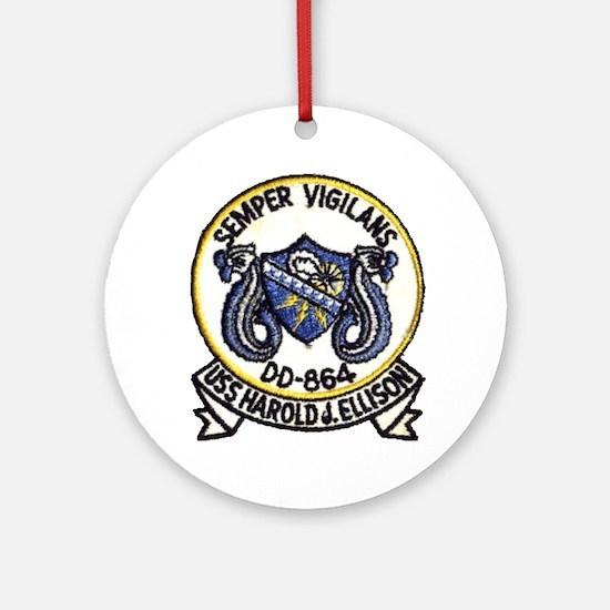 uss harold j. ellison patch transpa Round Ornament