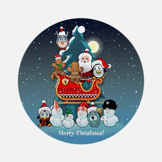 Santas Xmas Party Round Ornament