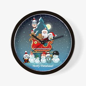 Santas Xmas Party Wall Clock