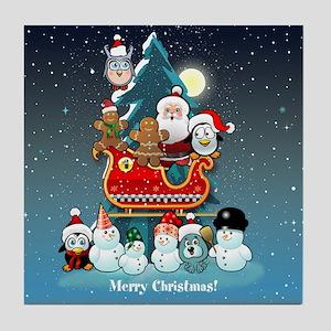 Santas Xmas Party Tile Coaster