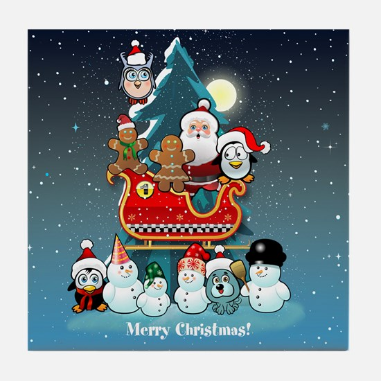 Santas Xmas Party Tile Coaster