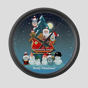 Santas Xmas Party Large Wall Clock
