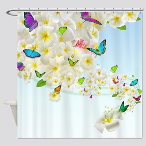 Plumeria Butterflies Shower Curtain