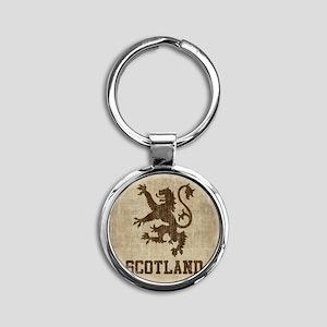 Vintage Scotland Round Keychain