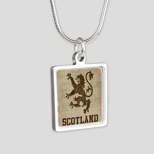 Vintage Scotland Silver Square Necklace