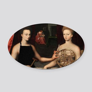Gabrielle and her Sister Oval Car Magnet
