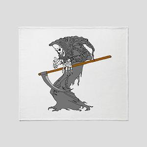 Grim Reaper Skeleton Throw Blanket
