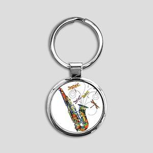 Wild Saxophone Round Keychain