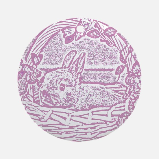 Rose Pink Basket Bunny Woodcut Round Ornament