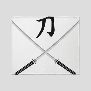 samurai sword Throw Blanket