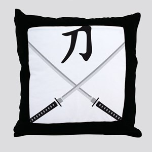 samurai sword Throw Pillow