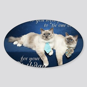 Birman Birthday Card Sticker (Oval)